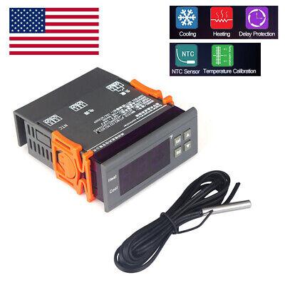 Mini Digital 110v Temp Controller Thermostat -58194 Fahrenheit Sensor 10a Z9y9