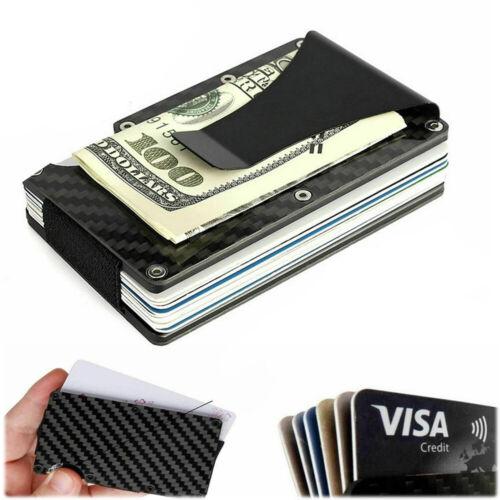 RFID Blocking Slim Money Clip Carbon Fiber Men Credit Card Holders Metal Wallet