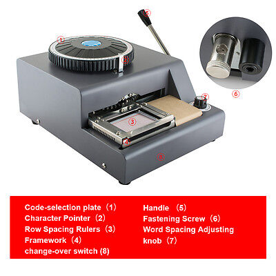 72 Characters Safty Use Pvc Card Tag Embosser Embossing Stamping Manual Machine