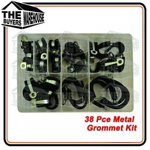 Rubber Lined PClips - P Clips Metal Clamps Retaining Hose Cable Wire Kit