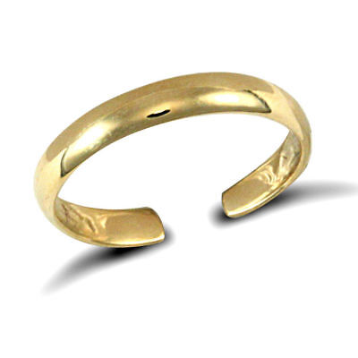 9ct Solid Gold Toe Ring - Adjustable Plain Band  - RRP £52