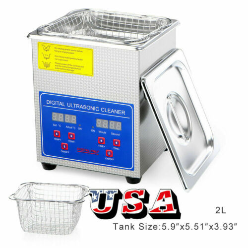 2 Liter Industry Ultrasonic Cleaners Cleaning Equipment w/ Timers Heaters US