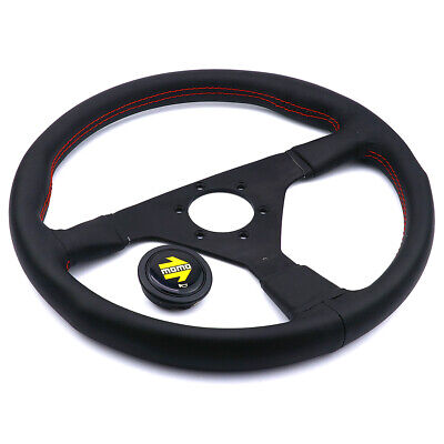 New 14inch Real Leather Racing Flat Drift Sport Steering Wheel with Red Suture