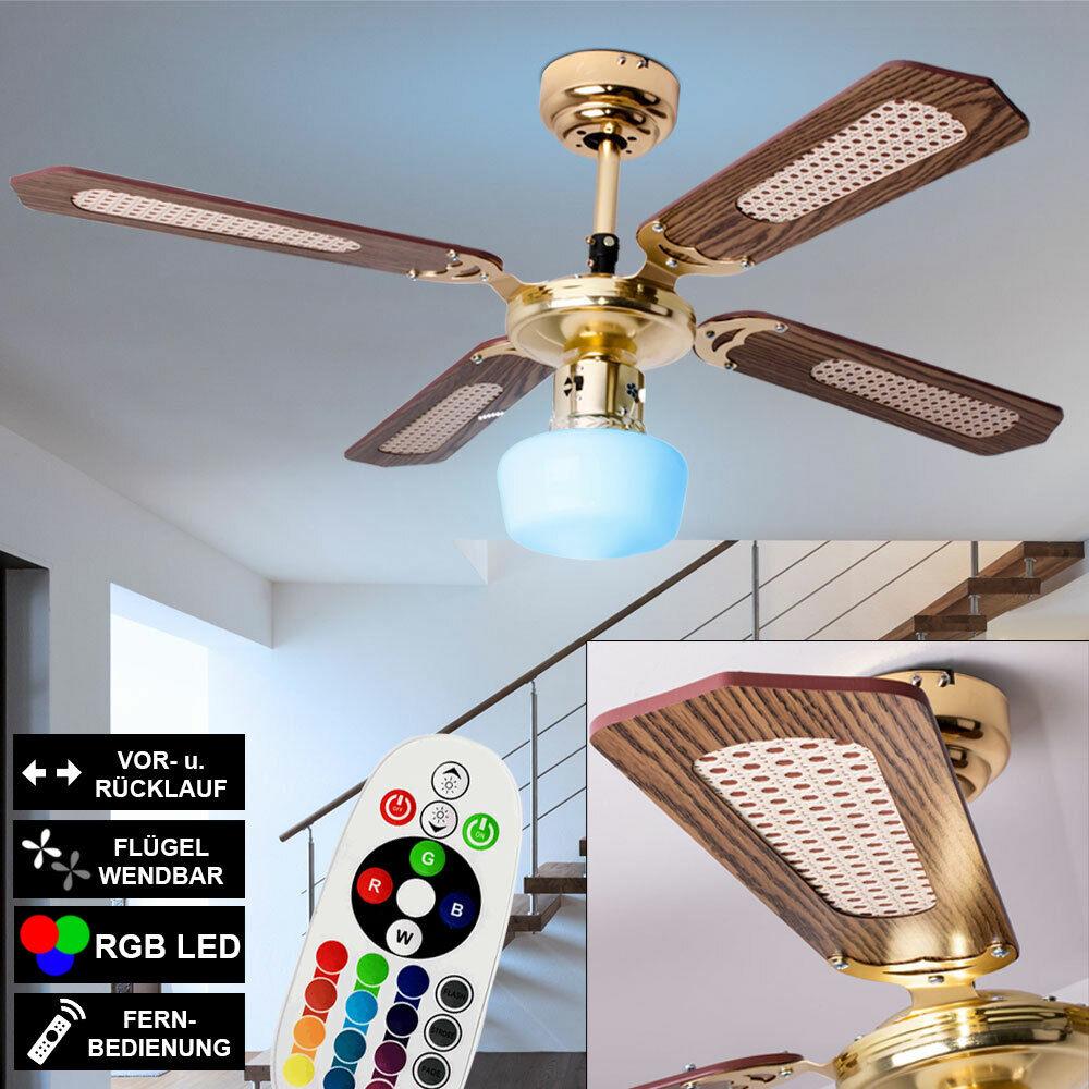 LED Decken Ventilator Zugschalter LEISER Lüfter Lampe RGB Leuchte FERNBEDIENUNG