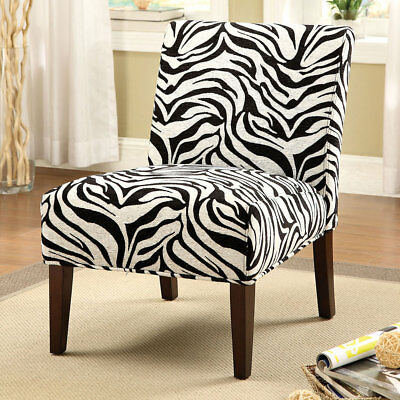 Zebra Accent Chair - Aberly Armless Padded Accent Chair Wooden Tapered Espresso Legs Zebra Pattern