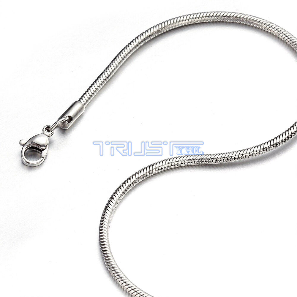 """Womens Wholesale 316L Silver Stainless Steel Round Snake Chain Necklace 16-24/"""""""