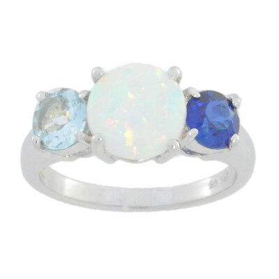 Opal Blue Sapphire & Aquamarine Ring .925 Sterling -