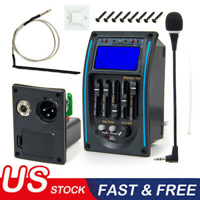 5-Band Acoustic Guitar Preamp EQ Equalizer Piezo Pickup Amplifier LCD Tuner+ MIC