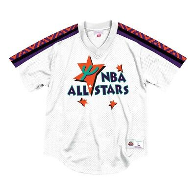 1995 NBA All Star West Mitchell & Ness Men's Pullover V-Neck Mesh White Jersey All Star Pullover
