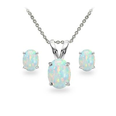925 Silver Simulated White Opal Oval Solitaire Necklace and Stud Earrings Set