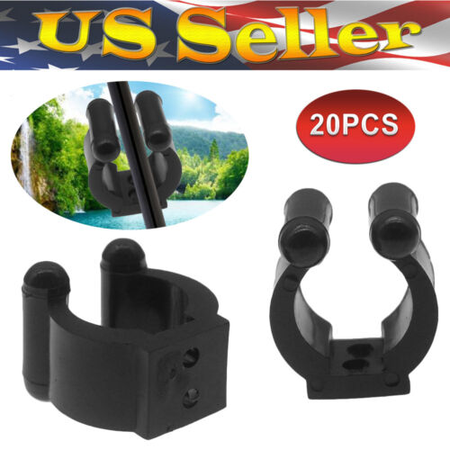 20 Pack Wall Mounted Fishing Rod Storage Clips Clamps Holder Rack Organizer US