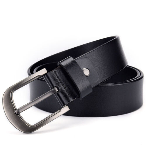 100% Genuine Leather Mens Belt Belts Real New Buckle Trouser Sizes Black Jeans
