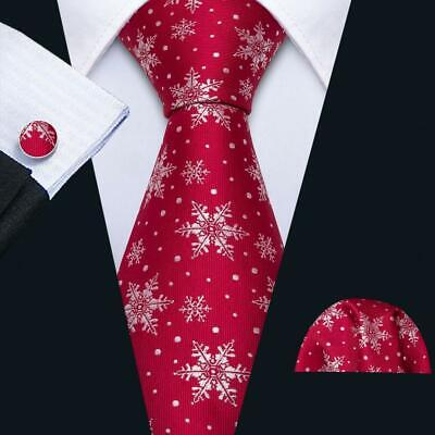 2020 New Year Snowflake TIE Set Silk Red Christmas Handkerchief Cufflinks USA Christmas Snowflake Tie