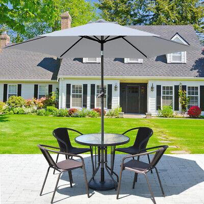 2.7M Patio Round Parasol Outdoor Garden Sun Shade Umbrella With Crank Tilt Grey