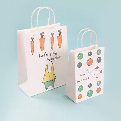 12PCS Kraft Cartoon Fish Pattern Portable Paper Bags Gift Bag for Food Candies
