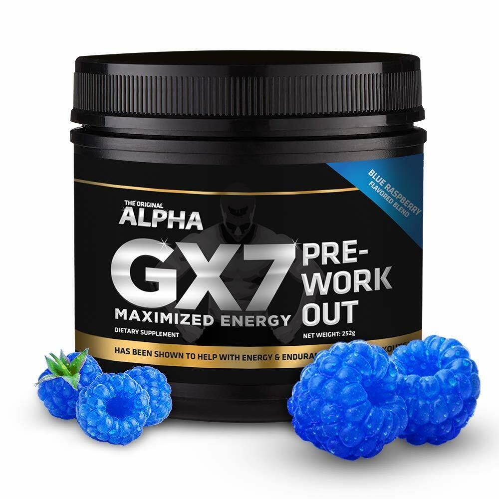 Alpha GX7 Supplement Maximized Energy Pre-Workout: Blue Rasp