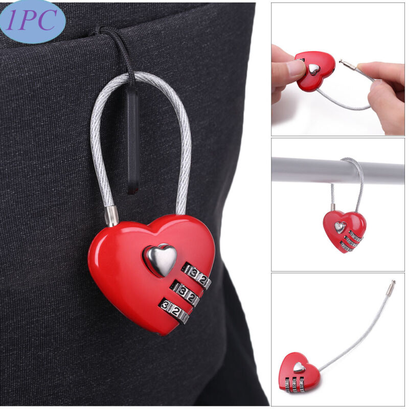 Locker Case Supply Padlock 3 Digit Password Heart Shaped Lock Security Tool