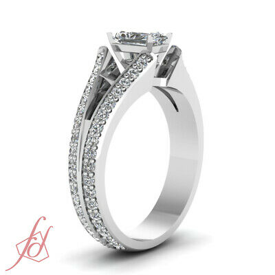 1.60 Ct Diamond Split Band Pave Set Ring With Radiant Cut And Round Accents GIA 2