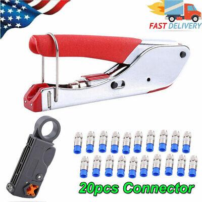 Compression Tool F Rg6 Rg59 Connector Cable Coax Stripper Crimper Set