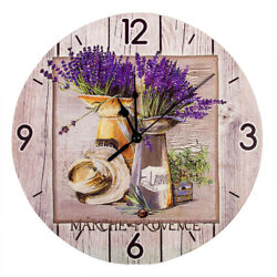 Large Analog Wall Clock Living Room Home Office Decorative Lavender French Style