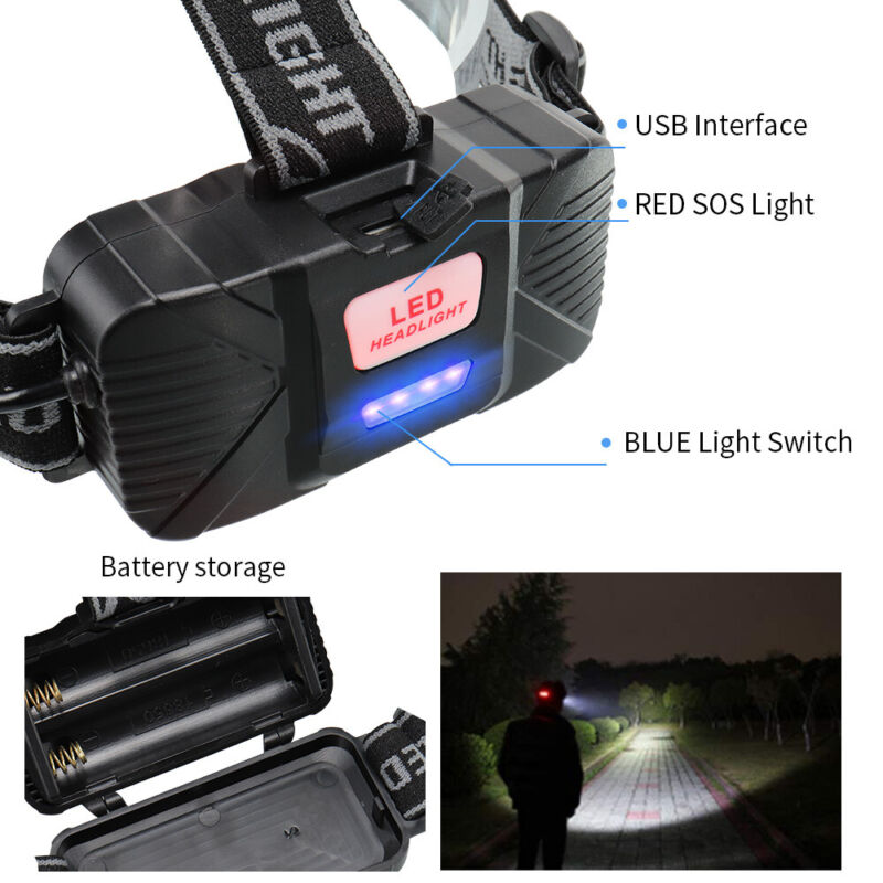 350000LM 5x T6 LED Headlamp Rechargeable Headlight Bright Flashlight Head Torch