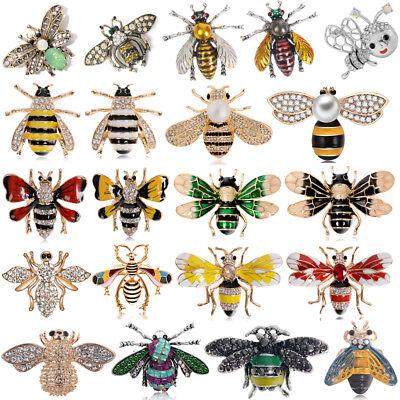 Rhinestone Bee Pin - Women's Delicate Little Bee Insect Crystal Rhinestone Collar Brooch Pin Jewelry