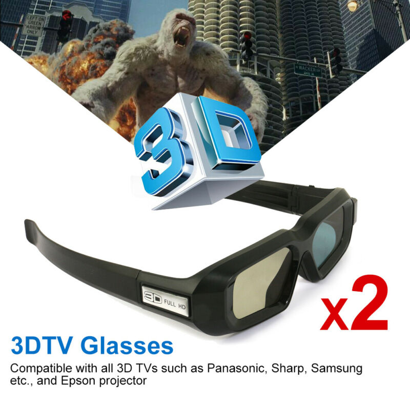 2x 3D Glasses Active Work for Epson Projector TW5210 and Panasonic Samsung 3DTV