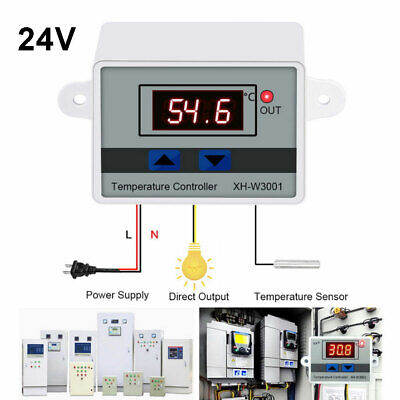 W3001 24v Digital Led Temperature Controller 10a For Incubator Thermostat Switch
