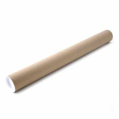 Pack of 12 x  Postal Tubes Manilla with Plastic Cap 610 x 50 mm diameter