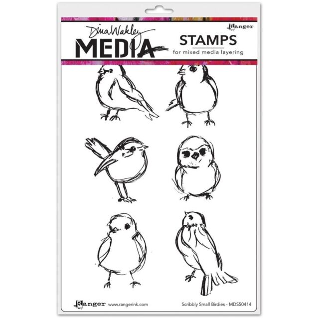 """Dina Wakley Media Cling Stamps 6""""X9"""" - Small Birdies"""