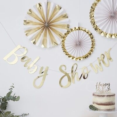 Ob Garland (Gold Foiled Baby Shower Bunting Banner Oh Baby Party Decoration Garland - 1.5m)