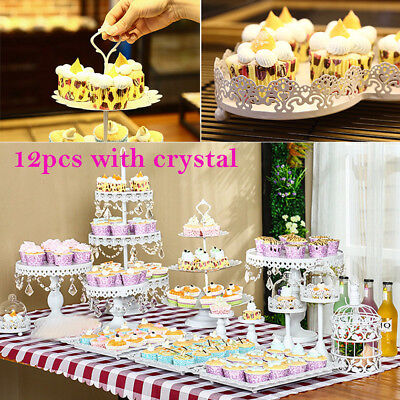 Candy Stand For Party (12pcs Iron + Crystal European Style Cup Cake Candies Cookies Stand for)