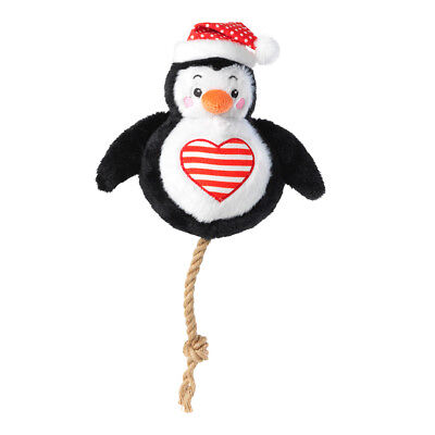 House of Paws Christmas Penguin Snowball Dog Toy | Squeaky Rope Xmas Present