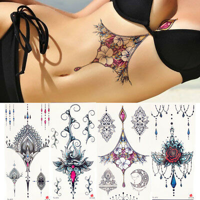 Sexy Chest Pendant Temporary Tattoo Sticker For Women Fake Jewelry Chain - Temporary Tatoos