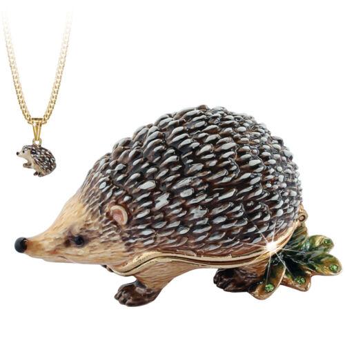 """Enameled Hedgehog """"Secrets"""" Bejeweled Trinket Box With Hidden Pendant Necklace!"""