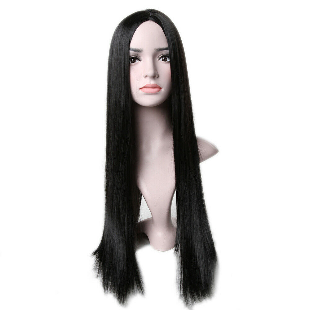 Women Long Straight Black Wig Cosplay Synthetic Wig Heat ...