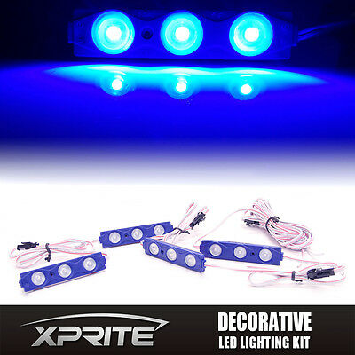 Xprite Blue 4PC 12 LED Strip Pod Panel Off Road Jeep UnderBody Accent Rock Light](Lights For Decorations)