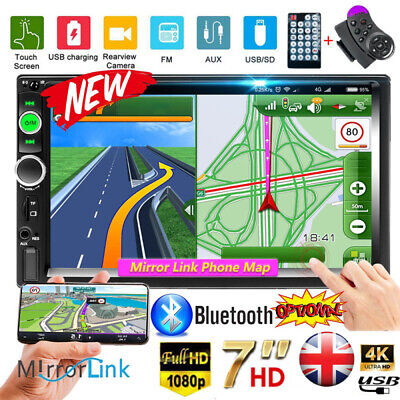 """Car Stereo Radio Bluetooth Double 2 Din 7"""" USB FM AUX IN IOS/Android Mirror Link"""