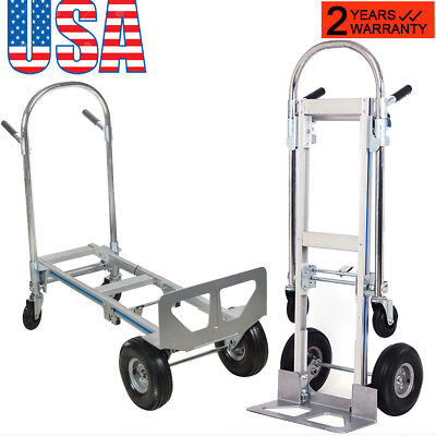 Promote 2in1 Aluminum Hand Truck 770lbs Convertible Foldable Dolly 4wheel Cart