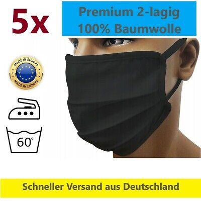 5 Stck. Mundmaske Mundschutz Gesichtsmaske Nase 2-lagig 100% Baumwolle waschbar