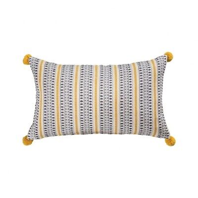 Yellow Stripes And Blue Dimonds 20x12-inch Pillow Cover Only Mustard/Blue