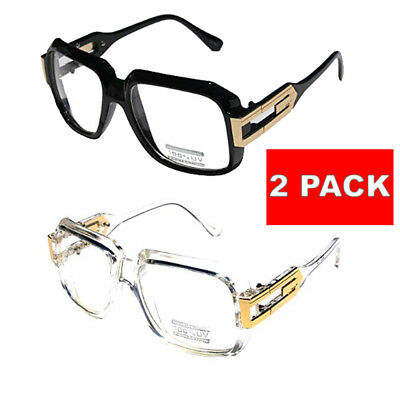 2 Pair Clear frame Clear Lens Square Retro Sun Glasses Gold Metal Accents - Pair Clear Lens