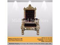 NEW Tokyo Luxury Throne Chair - Gold & Wine
