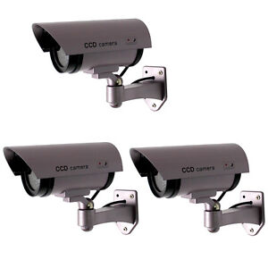3X Fake Surveillance Dummy Security Camera Waterproof LED light Indoor & Outdoor