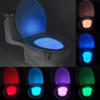 Motion Activated Seat Toilet Bowl Night Light Bathroom Led 8 Color Sensor Lamp