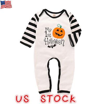 Newborn Baby Girl Boy Halloween Romper Jumpsuit Bodysuit Playsuit Clothes Outfit - Halloween Playsuit