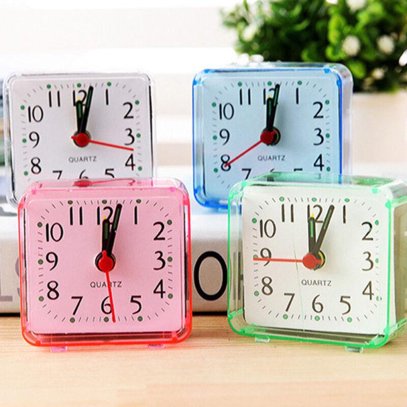 Portable Small Square Bed Compact Travel Quartz Beep Mini Alarm Clock Bedroom CN