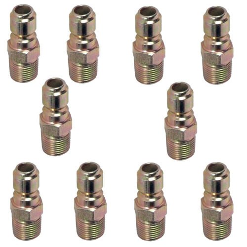 """Pressure Washer Hose Quick Connect Coupler Plug 3/8"""" MPT - 10 Pack"""