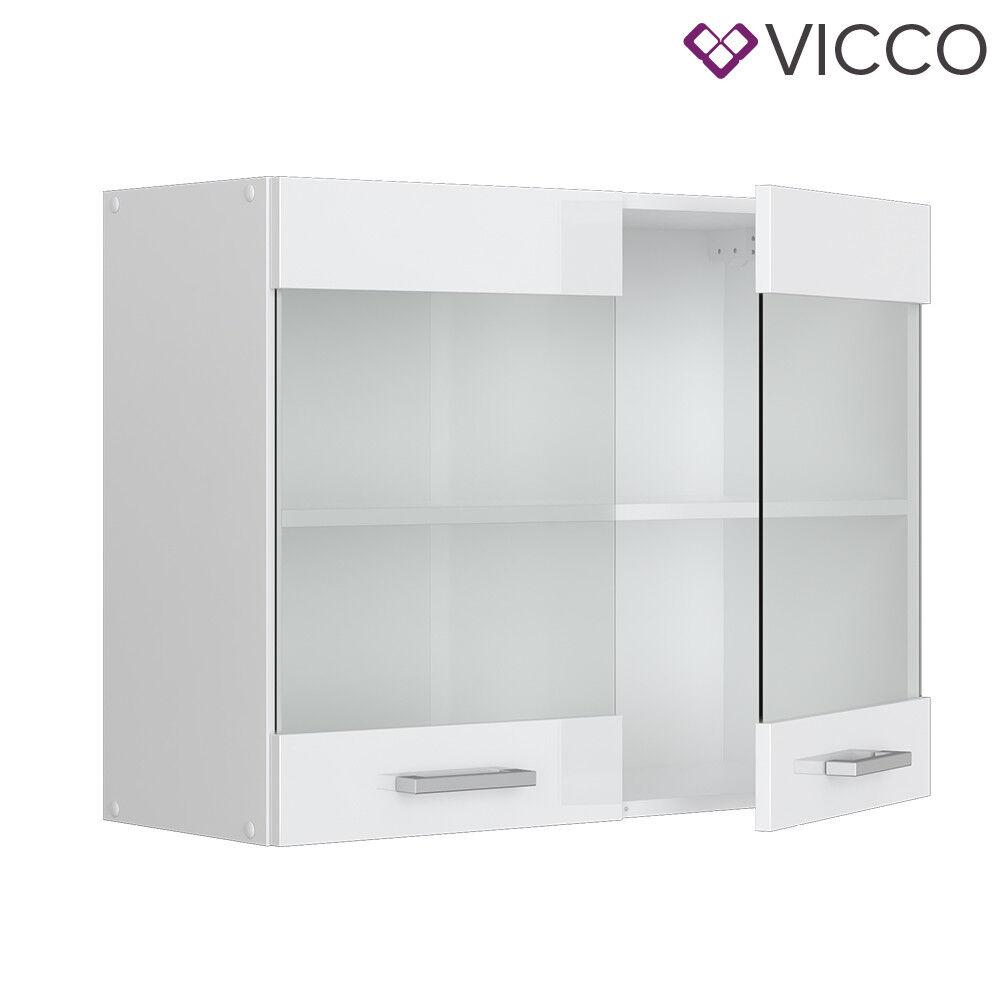 VICCO Küchenschrank Hängeschrank Unterschrank Küchenzeile R-Line Hängeglasschrank 80 cm weiß