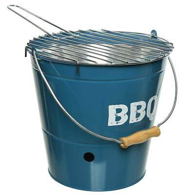 Grilleimer BBQ Picknickgrill Holzkohlegrill Tischgrill Campinggrill Blau Ø 27cm